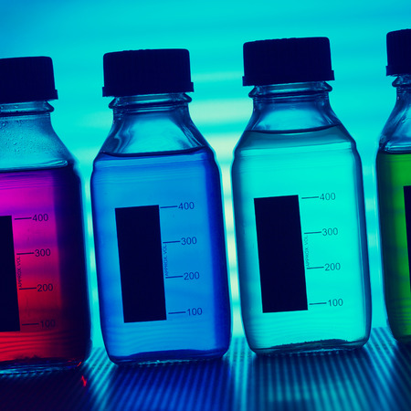 food research: set of of food colorants, food additives, toned photo