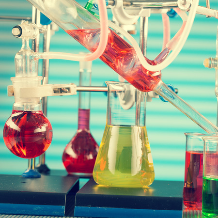 synthesis: Modern chemical laboratory. Installation for synthesis, toned photo Stock Photo