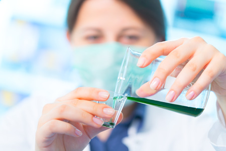 drug test: Woman with test tube