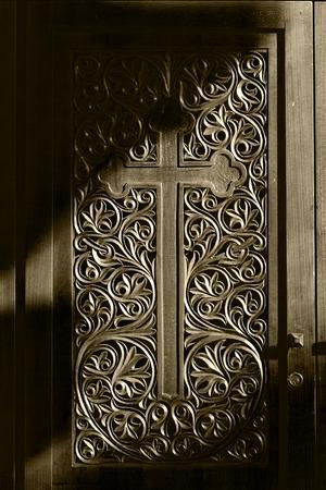 wood carving door: Ancient door with wood carving