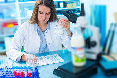 testing: microbiological and chemical quality control of milk Stock Photo