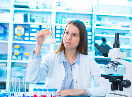 microbiological and chemical quality control of milk Archivio Fotografico