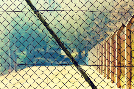 fence wire: Mesh netting Rabitz on the fence Stock Photo
