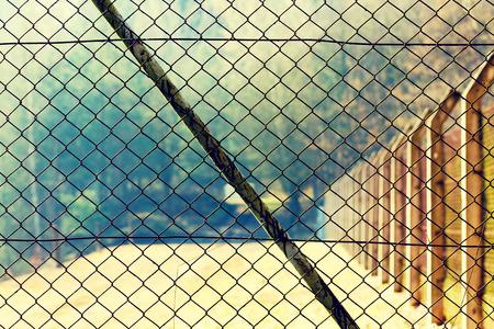 Mesh netting Rabitz on the fence Stock Photo