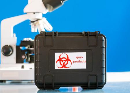 gmo: Case with GMO Stock Photo