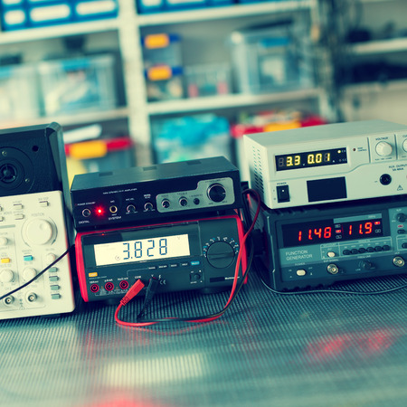 measuring instruments: Digital measurements devices Stock Photo