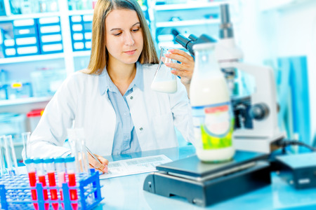 food inspection: microbiological and chemical quality control of milk Stock Photo