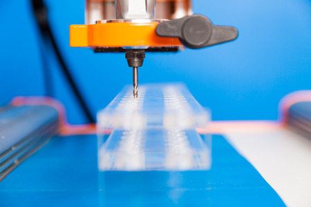 glass cutter: Cutter CNC router and plastic parts of glass Stock Photo