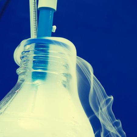 nitrogen: Bottle of liquid nitrogen in a laboratory