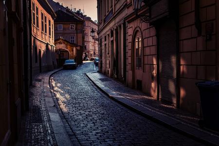 dark alley: Night streets of Prague. Stock Photo