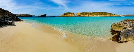 De Blue Lagoon op Comino Island, Malta Gozo Stockfoto