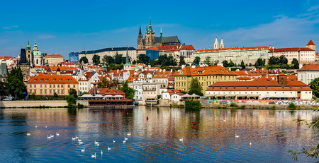 europe eastern: View of colorful old town and Prague castle with river Vltava, Czech Republic