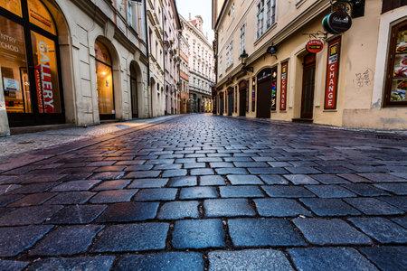 cobblestone street: PRAGUE, CZECH REPUBLIC - SEPTEMBER 04, 2015: Night streets of Prague. Prague is the capital and largest city of the Czech Republic