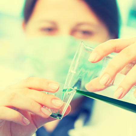reagents: Woman with test tube