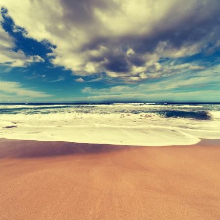 gold coast australia: Sand beach and clouds over sea Stock Photo