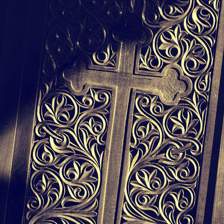 carvings: Ancient door with wood carving