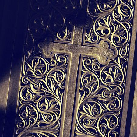 wood door: Ancient door with wood carving