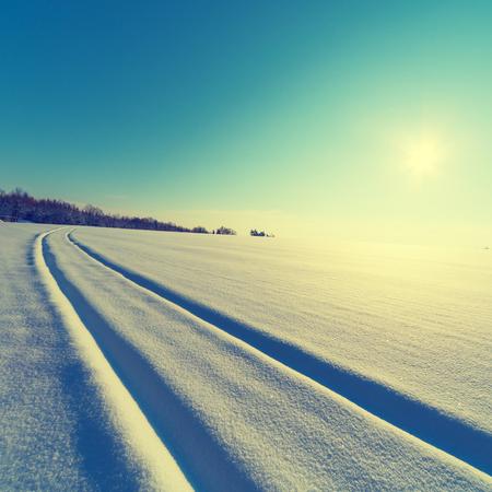 winter sunrise: Sunrise on winter landscape. snow field