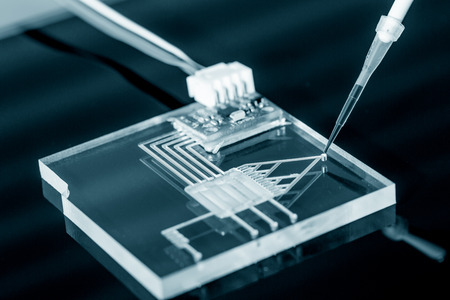 assays: A lab on chip is device integrates several laboratory processes in one device, mostly LOC based on glass plate.