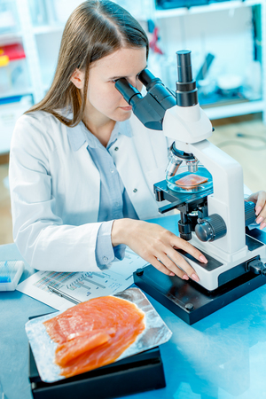 sea food: Check red fish in the laboratory Stock Photo