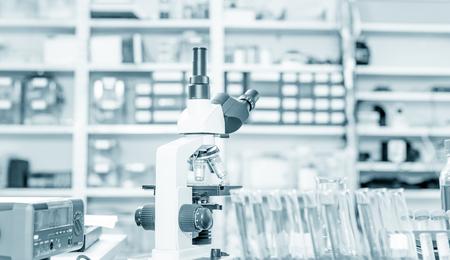 microscope lens: Laboratory microscope lens.modern microscopes in a lab.