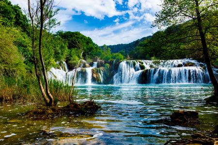 Watervallen Krka, Nationaal Park, Dalmatië, Kroatië Stockfoto