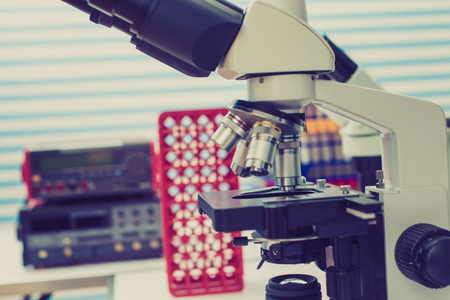 medical laboratory: microscope in medical laboratory Stock Photo