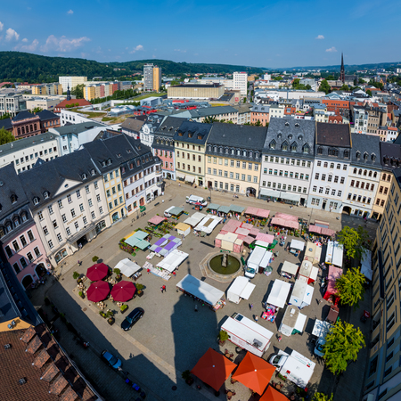 bayern old town: MUNICH, GERMANY - JULY 15, 2015: Aerial view from the marketplace in Munich. Munuch is the capital and largest city of the German state of Bavaria