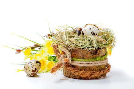 huevos de codorniz: huevos de codorniz en un recipiente de madera