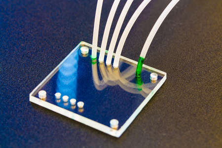 integrates: lab on chip is device integrates several laboratory processes in one device Stock Photo