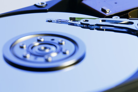 harddrive: Close up inside of Harddrive (HDD) on white background