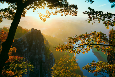 valley view: View into deep misty valley in Saxon Switzerland. Sandstone peaks increased from foggy background, the fog is orange due to sunrise. Bastei Bridge. Soft Focus on tree Stock Photo