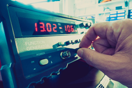 measuring instruments: Ajust the function generator, electronic measuring instruments Stock Photo