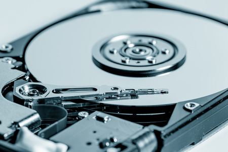 disclose: Inside of internal Harddrive HDD on white background
