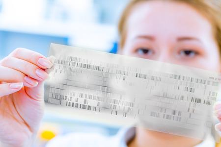 Scientific analyzes of DNA code Foto de archivo