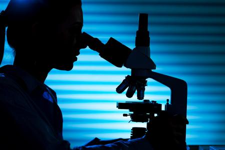 microscopio: Silueta de un científico en el microscopio