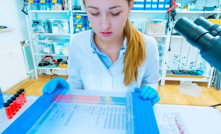 Scientific analyzes of DNA code Stock Photo