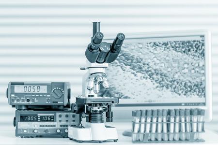 scientific research: Laboratory Microscope. Scientific research background.