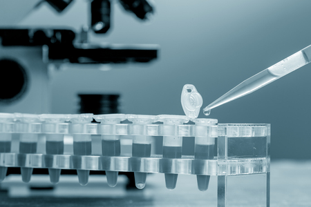 analytical: Workbench blood bank laboratory with a microscope and tubes with patient samples