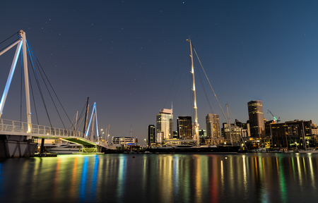 reflecting: Auckland Skyline reflecting on Westhaven Marina