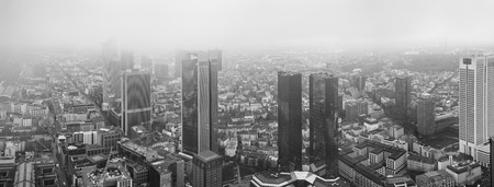 stock exchange: Frankfurt European financial capital skyline in fog