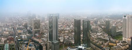 frankfurt stock exchange: City Frankfurt skyline in fog