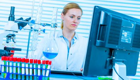 bio medicine: Technician in chemical laboratory