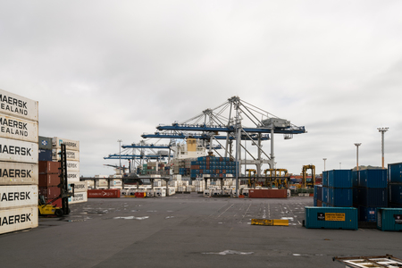 australasia: AUCKLAND, NZL -JAN 13 2016:Big cargo ship unloading containers in Ports of Auckland New Zealand. New Zealands busiest port and the third largest container terminal in Australasia.