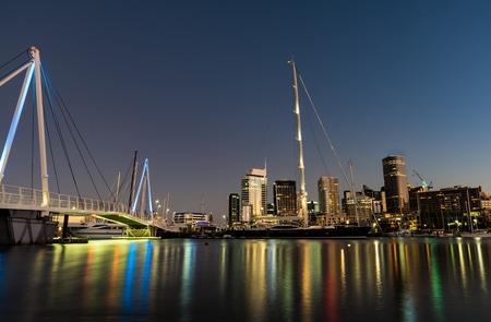 moon  metropolis: Auckland Skyline reflecting on Westhaven Marina