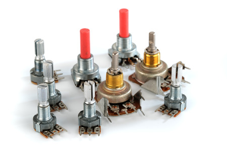 potentiometer variable resistor or rheostat. Foto de archivo