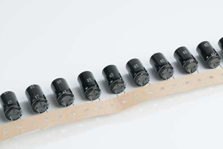 electrolytic: Electrolytic capacitors on a white background