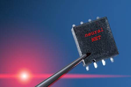silicio: chip de silicio con una red neuronal artificial
