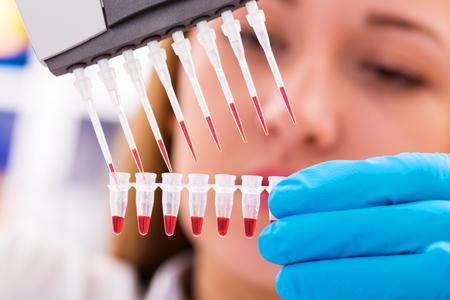 tige: femme assistant dans la recherche en laboratoire des cellules souches du cancer