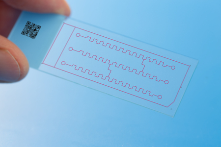 integrates: Lab on chip (LOC) is device that integrates laboratory functions on nano chip Stock Photo
